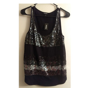 Express Lace & Sequence Tank Top Sz Small